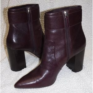 Nine West dark red brown leather pearl boots